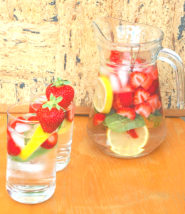 Fruit Infused Water--strawberries orange mint cucumber and ginger EDITED 2