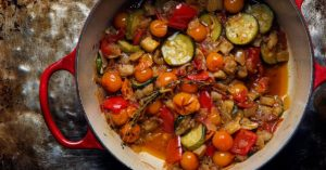 Social-Updated-Ratatouille-Recipe-French-Tomato-Zucchini-Eggplant-Casserole-with-Thyme-Onion-Summer-Entertaining-Recipe